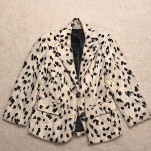NWOT Fitted Faux Fur Dalmatian Blazer